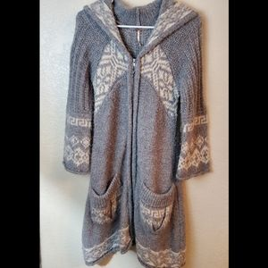 Free People Wool Hoodie Bohemian Long Cardigan